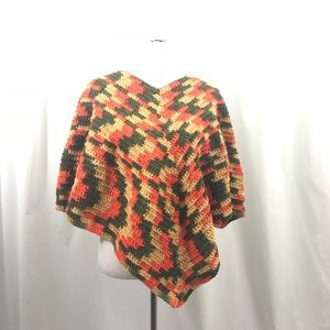 Vintage Orange and Green Crocheted Poncho Sweater